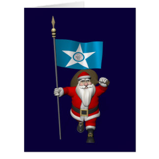 Santa Claus With Ensign Of  Houston TX Big Greeting Card