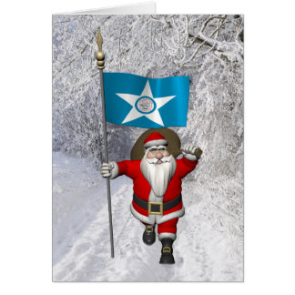 Santa Claus With Ensign Of  Houston TX Greeting Card