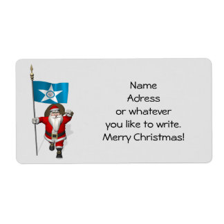Santa Claus With Ensign Of  Houston TX Shipping Label