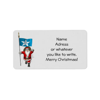 Santa Claus With Ensign Of  Houston TX Address Label