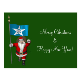 Santa Claus With Ensign Of  Houston TX Postcards