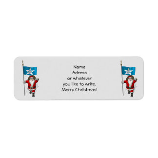 Santa Claus With Ensign Of  Houston TX Return Address Label