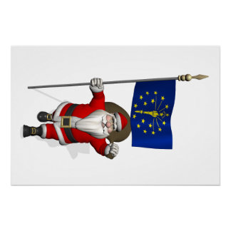 Santa Claus With Ensign Of Indiana
