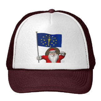 Santa Claus With Ensign Of Indiana Cap