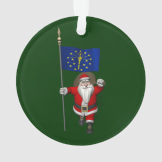 Santa Claus With Ensign Of Indiana Ornament