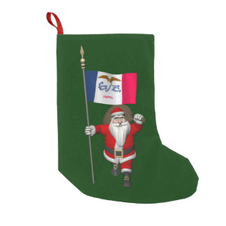 Santa Claus With Ensign Of Iowa Small Christmas Stocking