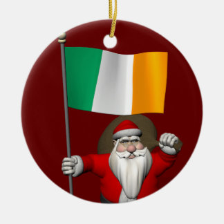 Santa Claus With Ensign Of Ireland Christmas Ornament