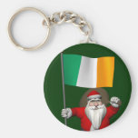 Santa Claus With Ensign Of Ireland Basic Round Button Key Ring