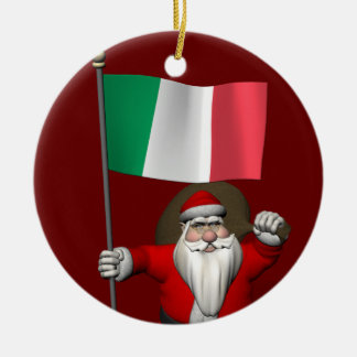 Santa Claus With Ensign Of Italy Christmas Ornament