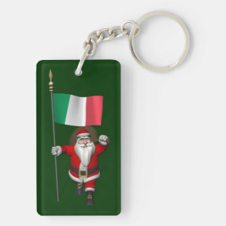 Santa Claus With Ensign Of Italy Double-Sided Rectangular Acrylic Keychain