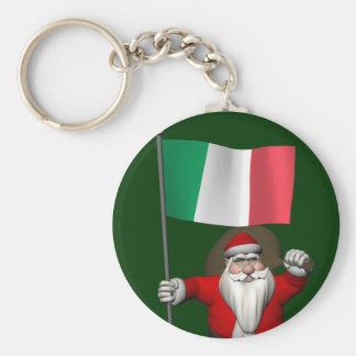 Santa Claus With Ensign Of Italy Key Chains
