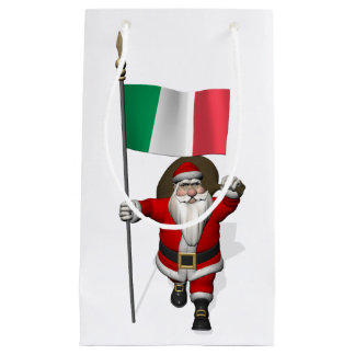 Santa Claus With Ensign Of Italy Small Gift Bag