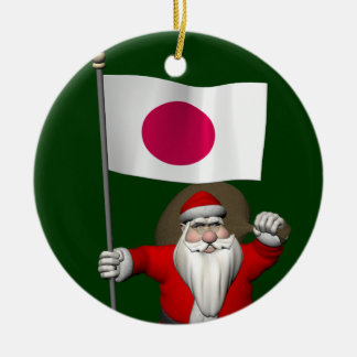 Santa Claus With Ensign Of Japan Christmas Ornament