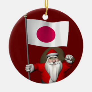 Santa Claus With Ensign Of Japan Round Ceramic Decoration