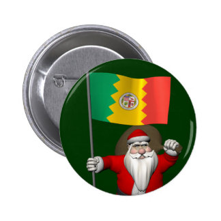 Santa Claus With Ensign Of Los Angeles 6 Cm Round Badge