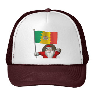 Santa Claus With Ensign Of Los Angeles CA Mesh Hat