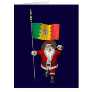 Santa Claus With Ensign Of Los Angeles Cards