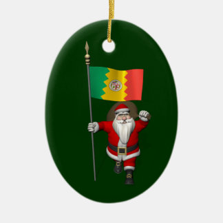 Santa Claus With Ensign Of Los Angeles Christmas Tree Ornaments