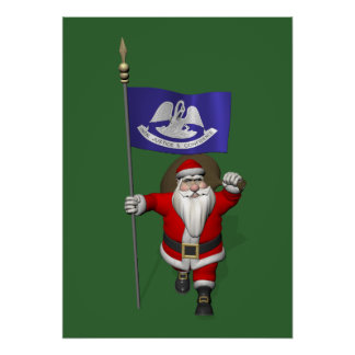 Santa Claus With Ensign Of Louisiana Poster