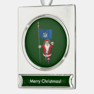 Santa Claus With Ensign Of Maine Silver Plated Banner Ornament