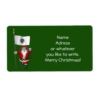Santa Claus With Ensign Of Massachusetts Shipping Label
