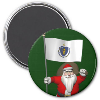 Santa Claus With Ensign Of Massachusetts 7.5 Cm Round Magnet