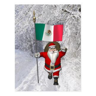 Santa Claus With Ensign Of Mexico Postcard