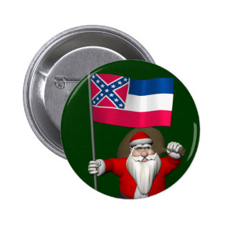 Santa Claus With Ensign Of Mississippi 6 Cm Round Badge