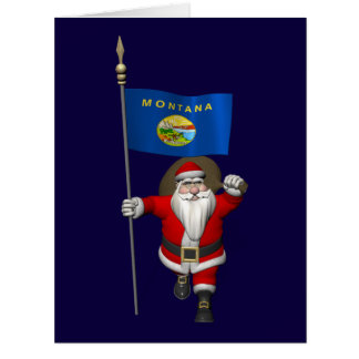 Santa Claus With Ensign Of Montana Large Greeting Card