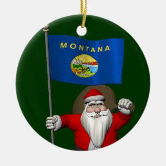 Santa Claus With Ensign Of Montana Round Ceramic Decoration