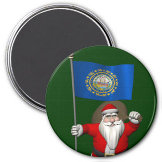 Santa Claus With Ensign Of New Hampshire Fridge Magnet