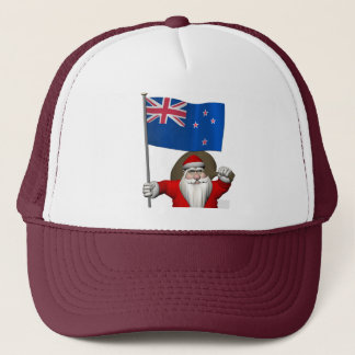Santa Claus With Ensign Of New Zealand Trucker Hat