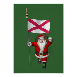 Santa Claus With Ensign Of Northern Ireland Poster