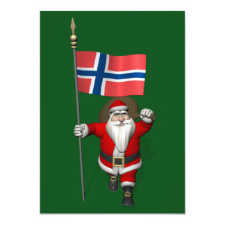Santa Claus With Ensign Of Norway 13 Cm X 18 Cm Invitation Card