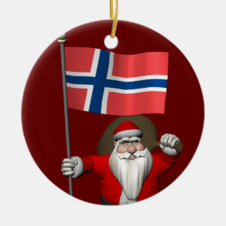 Santa Claus With Ensign Of Norway Christmas Ornament