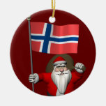 Santa Claus With Ensign Of Norway Round Ceramic Decoration