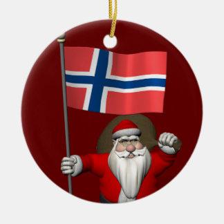 Santa Claus With Ensign Of Norway Round Ceramic Decoration