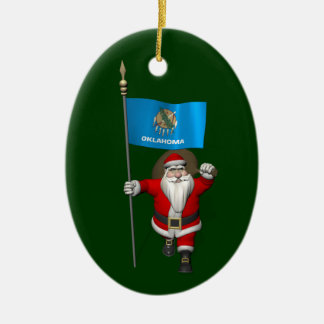 Santa Claus With Ensign Of Oklahoma Christmas Ornament