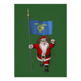 Santa Claus With Ensign Of Oregon Poster