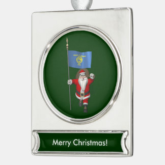 Santa Claus With Ensign Of Oregon Silver Plated Banner Ornament