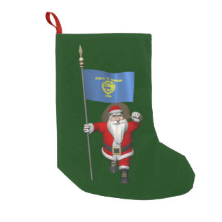 Santa Claus With Ensign Of Oregon Small Christmas Stocking