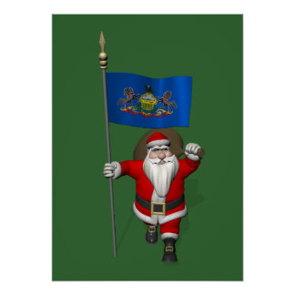 Santa Claus With Ensign Of  Pennsylvania Poster