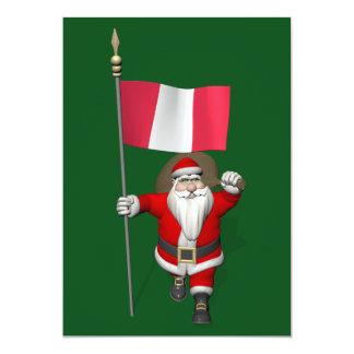 Santa Claus With Ensign Of Peru 13 Cm X 18 Cm Invitation Card
