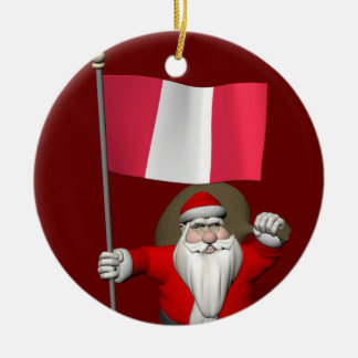 Santa Claus With Ensign Of Peru Christmas Ornament