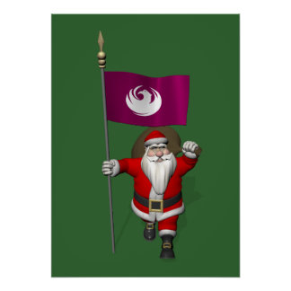 Santa Claus With Ensign Of Phoenix Poster