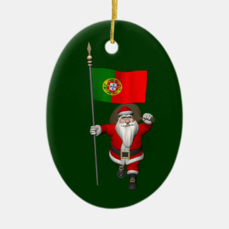 Santa Claus With Ensign Of Portugal Ceramic Oval Decoration