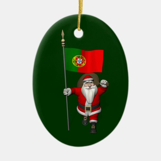Santa Claus With Ensign Of Portugal Christmas Ornament