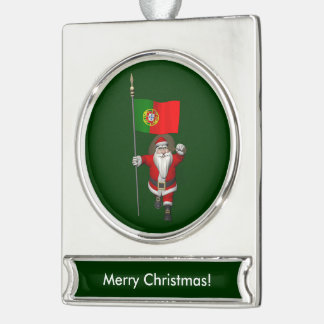Santa Claus With Ensign Of Portugal Silver Plated Banner Ornament