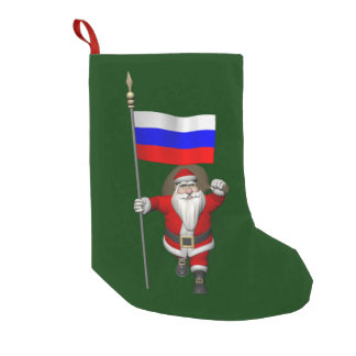 Santa Claus With Ensign Of Russia Small Christmas Stocking