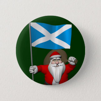 Santa Claus With Ensign Of Scotland 6 Cm Round Badge